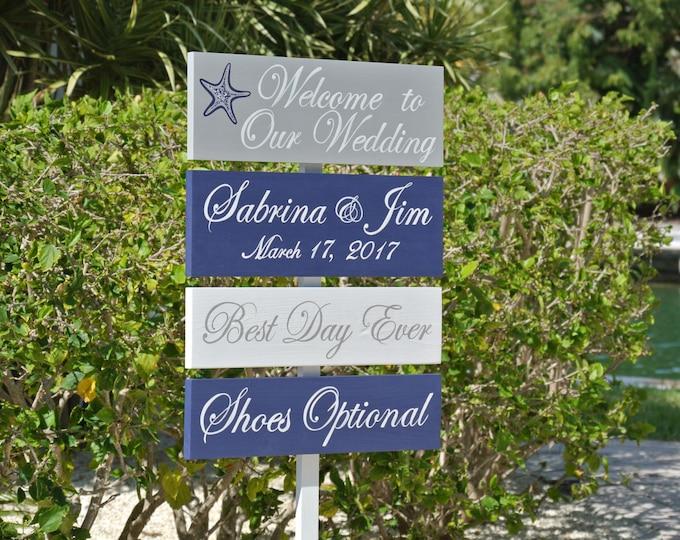 Nautical Beach Wedding Decor, Welcome Wedding Sign, Best Day Ever Personalised Wedding Gift Idea