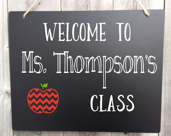 Teacher Chalkboard Sign, Personalized Hanging Chalkboard Sign, Teacher Name Sign, Welcome to Class Sign, Classroom Decor, Back to School