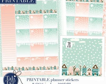 January monthly kit. Month view planner stickers PRINTABLE for Happy Planner with houses, snow streets. Instant digital download.