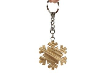Snowflake 1 - rustic Old Fir wooden keychain