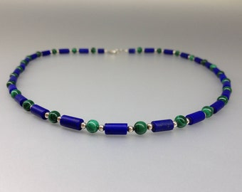 Lapis Lazuli and Malachite necklace with Sterling silver - natural genuine Lapis Lazuli - blue and green necklace -dual color-gift Christmas