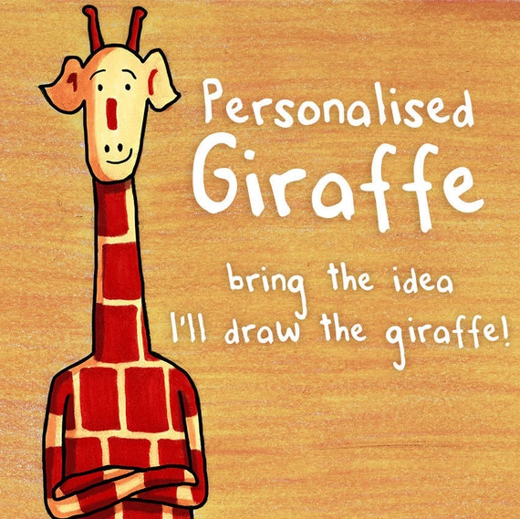 Personalised Giraffe Art - Motivating Giraffe - 8x11 Print and full resolution digital file