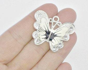 2 Large White Enamel Butterfly Charms - Crystal Rhinestone Butterflies - Pendants - #E0038