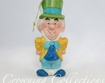 Disney The Mad Hatter Porcelain Ornament Japan Alice in Wonderland Bisque Ceramic Figurine Disney Productions Parks Vintage