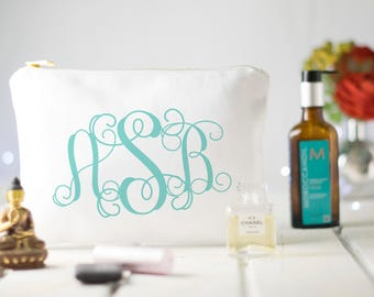 Bridesmaid Makeup Bag, Monogram Makeup Bag, Girly Makeup Bag, Initial Bridesmaid Makeup Bag, Something Blue, Bride Emergency Kit, Boho style