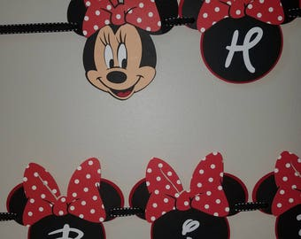 Red Minnie Mouse Happy Birthday Banner Personalized With Your Choice of Name