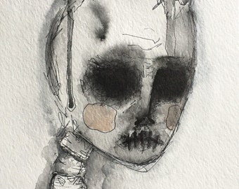 Horned, horror art, watercolor, horns, skulls, scary, handmade, original art