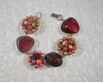 Up-cycled Assemblage Chunky Statement Bracelet Vintage Earrings Wine Maroon Colors OOAK Crazy Aunt Designs Original #2579