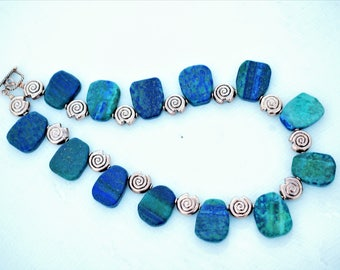Chunky Blue Green Crycosolla & Copper Collar Necklace