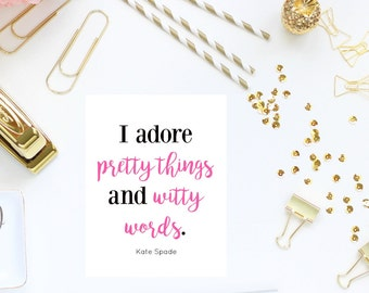 Kate Spade Quotes Mesmerizing Kate Spade Quotes Printable  Etsy