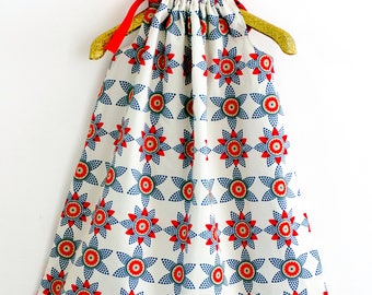 Pillow case dress, nautical dress, toddler dress, girl dress, red dress, african print dress,summer dress, red, blue,white summer dress