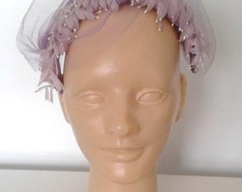 Vintage 1950's Purple Flower Petal Fascinator Whimsy Hat Velvet Bow Veil Mid Century