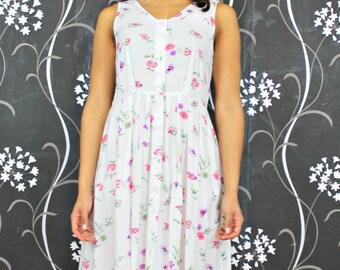 90's Cotton Vintage Dress Floral Dress Retro Day Dress Vintage 90's Dress White Floral Dress Retro Dresses Fashion 90's Women's Clothing