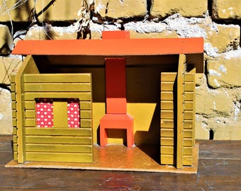 Wooden Dollhouse - Dollhouse Miniature - Vintage Dollhouse - Bear House Miniature - Handmade Children's Doll House - Miniature House