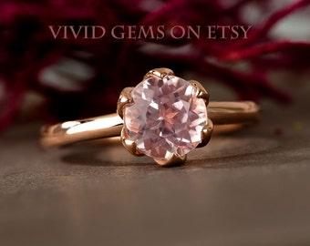 Kunzite Rose Gold Ring, Pink Stone Ring, Tulip Flower Solitaire Ring