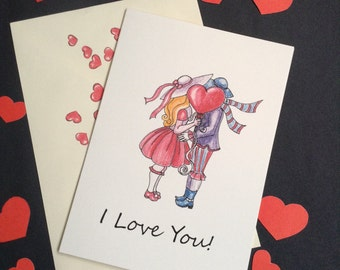I Love You Valentines Card. Valentine's Day.Love Cards. Hand Made Cards.Hand Drawn Illustration.Couple.Kiss.Illustrated Cards.