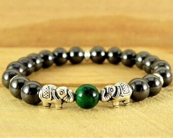 Mens Bracelet Elephant Bracelet Yoga Jewelry Hematite Bracelet Reiki Jewelry Meditation Bracelet Tibetan Jewelry Gemstone Bracelet Mens Gift