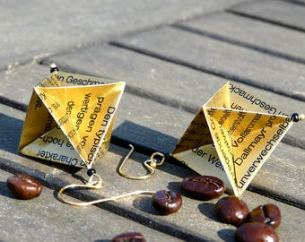 WOULD YOU LIKE COFFEE? Origami earrings, label paper upcycled