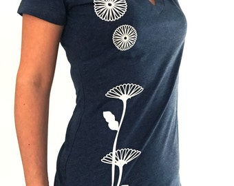 Women's Graphic Tee - Fashion Tshirts - Japanese Style T-shirt - Flower (Chrysanthemum) Design - Inspired by Kimono - Gift for Her - Navy