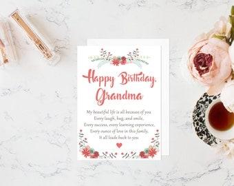Grandma birthday card, birthday card for grandmother, gift for grandma, grandma gift, gifts for grandma, greeting card, birthday