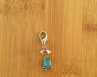 Beach chair and umbrella zipper charm with key ring, Beach chair and umbrella zipper pull, Beach chair purse charm, Beach chair keychain