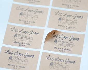 10 Let Love Grow Stickers, Seed Packet, Kraft Labels, Wedding Favors,Envelope Seals,Bridal Shower,Wedding Personalized,Thank You Stickers