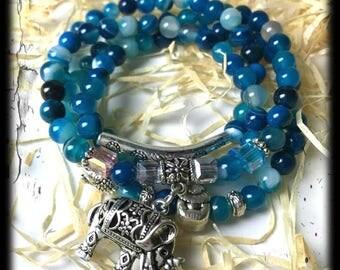 Blue Tourmaline, Elephant Bracelet, healing Crystals, Reiki, Meditation Jewelry, Mala, Elephant mala, Tourmaline Necklace,  Indicolite