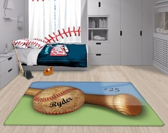 Baseball Nursery Rug Personalized Custom Area Matt Name