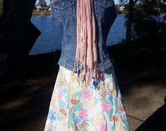 Vintage Floral Linen Skirt, Ladies Floral Skirt, Small Skirt, Floral Print, Pastel Floral Print