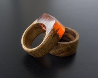 Wood Ring, Resin Wood Ring, Womens wood ring, Ring red resin, Resin Jewelry, Handmade jewelry, Gift for her, Wood ring women,Ring Resin, Red