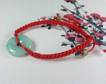 Grade A Certified Light Green Jadeite Donut 5 Pieces of Jadeite Adjustable Bracelet