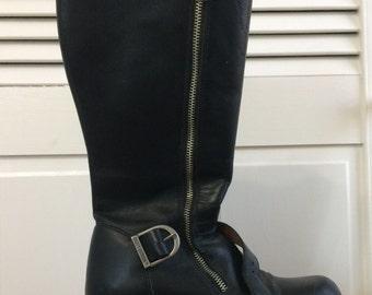 Leather Buckle Platform Harley-Davidson Boots
