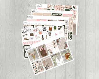 Rustic Florals Weekly Planner Kit with 170+ Stickers (GLOSSY Erin Condren Planner Stickers)