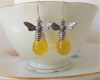 Honey Bee Earrings - Sterling Silver Bee Earrings - Bee Drop Earrings - Bumble Bee Earrings - Yellow Czech - Yellow Dangle - Honey Bee Drop