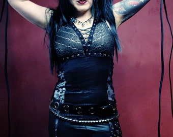 Shirt, Petite, Small or Medium, Gothic Glam Rocker, Road Warrior, Tank, Cyber, Punk, 80's, Deathrock, Dark Fusion Boutique