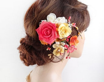 floral hair clip, floral hair comb, pink and yellow, floral headpiece, bridal hair clip, wedding hair clip, pink hair flower, yellow roses