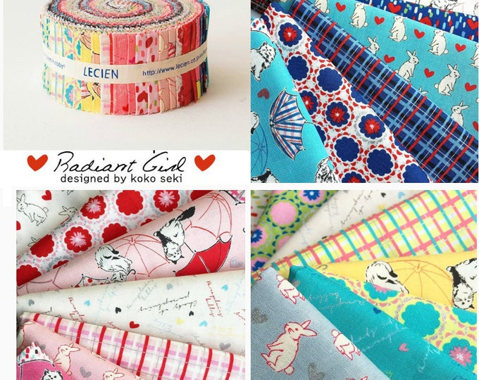 """Radiant Girl Jelly Roll 2 1/2"""" fabric strips quilt fabric pack - Lecien Japanese cotton Sushi Roll set bundle by Koko Seki, 42 pieces"""