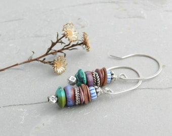 Antique Glass Striped Trade Bead Stack + Turquoise and Purple Spiney Oyster Earrings-Blue-White Purple Green