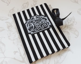 Gothic steampunk journal-striped journal-notebook-goth victorian- poison label-midori-blank book-diary book-