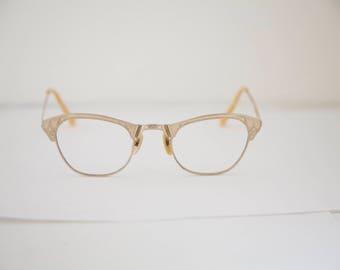 50s 12 k Gold filled Brow Line Cats Cateye Eyeglasses Frames Vintage 1950's Women's 12K w  GF RH224