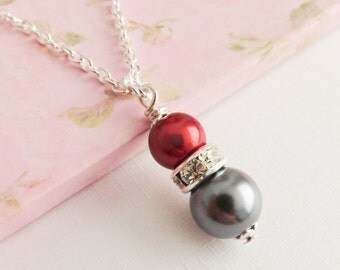 Grey with red bridesmaid necklaces, pearl necklaces, bridesmaid gift, bridal jewelry, flower girl gift, wedding jewelry