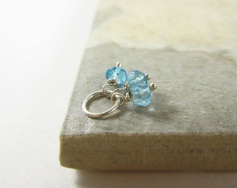 Tiny Trio - Sterling or 14k Gold Charm Jewelry - London Blue Topaz Charm - December Birthstone Charm - December Birth Stone - Zodiac Jewelry