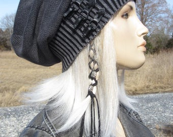 Edgy Post Apocalyptic Clothing Slouchy Beanie Hat Black /Charcoal Gray Vintage Buckles Leather Belts Distressed Acid Washed Skull Cap  A2077
