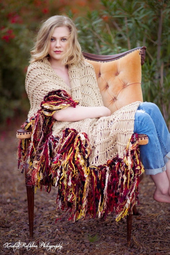 Throw Afghan Blanket and Portrait Photo Prop Fringe Wrap Home Decor in Warm Colors