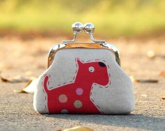 dog coin purse linen fabric