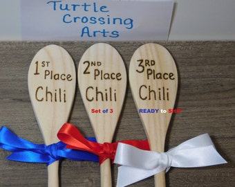 Chili Cook Off Wooden Spoons 1st 2nd 3rd Place Awards Trophy Prizes Contest Competition Festival Event Set of 3 Engrave Wood burn, READY Now