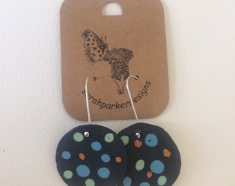 Black speckled egg earrings