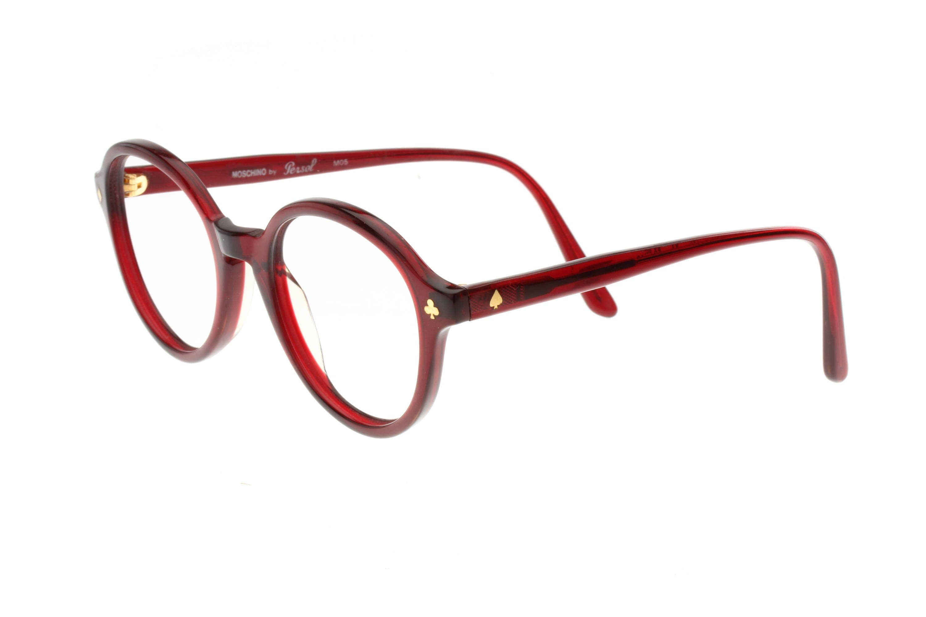 7aa7a880fb569 Moschino M05 by Persol Ratti ultra rare card seeds pins translucent  burgundy cello round eyeglasses frames