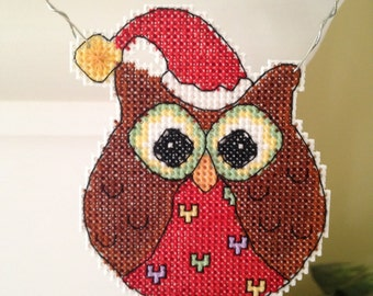 New Christmas Owl Cross Stitch Ornament