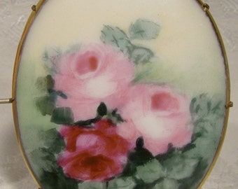Hand Painted Roses Porcelain Brooch 1910 1920 Oval Pin